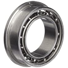 Dynaroll Precision Miniature Ball Bearing, ABEC-5, Open, Flanged, Stainless Steel