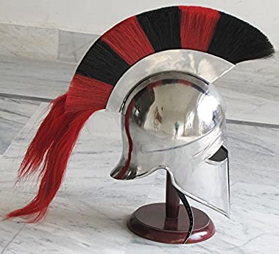 Medieval Greek Corinthian Armour Helmet Red Black Plume Spartan Armor Free Wooden Stand