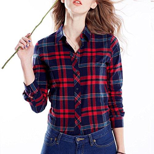 Brioso Women'S Big Plaid Cotton Shirt Red Blue Tone 661-18-M