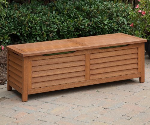 Home Styles 5661-25 Montego Bay Deck Box, Eucalyptus Finish (Outdoor Bench Storage Wood compare prices)