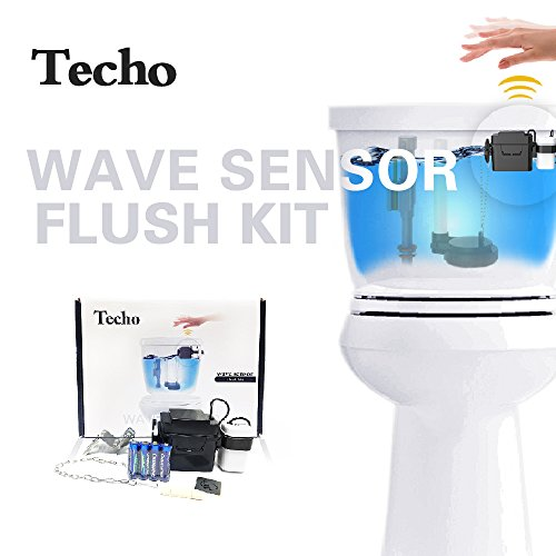 TECHO Touchless Toilet Flush Kit and Automatic Toilet Flusher (Automatic Flush Valve compare prices)