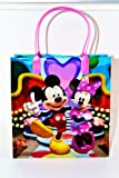 DISNEY MICKEY & MINNIE PLASTIC BAG 7.9. PINK HANDLES. FREE US SHIPPING