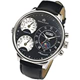 Kings and Queens Mens Large Wrist Watch Black Dial 55 mm Automatic Mechanical KQ4003