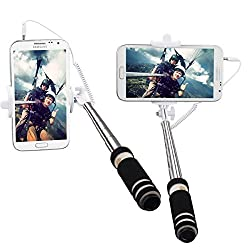 Selfie Stick,BestElec Mini Self-portrait Extendable Handheld Fold Wired with built-in Remote Shutter for iPhone 6,6 plus/ 5s ,Samsung S6,S5,Note 4,and More Smartphones -Black