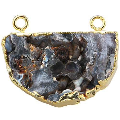 SUNYIK Natural Crystal Geode Cluster Gemstone Connector Charm Pendant Bead (Gem Cluster 16g compare prices)