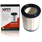 Super Max Wet Dry Vacuum Air Cartridge Filter Pleated 3 layer - Designed for RIDGID 5 gallon and up & CRAFTSMAN Red Stripe replacement. EASY HASSLE FREE Cleaning of ASH, SAW DUST, GLASS, DUST, DIRT