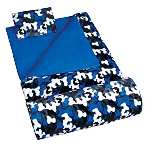 Wildkin Blue Camo Plush Sleeping Bag, Dark Blue