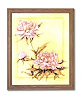 Japanese Asian Peonies Flowers Contemporary Home Decor Wall Picture Oak Framed Art Print