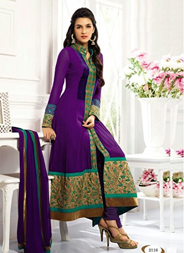 Fabboom New Heavy Kriti Sanon Purple Long Length Traditional Anarkali Suits- Free Size (FBA172-2116)