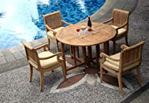 """Hot Sale New 5 Pc Luxurious Grade-A Teak Dining Set - 48"""" Round Butterfly Table And 4 Giva Arm / Captain Chairs"""