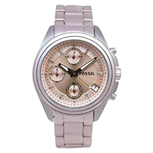 Fossil Women's ES2915 Pink Aluminum Quartz Watch with Pink Dial