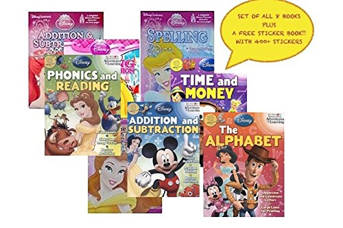 Disney-Pixar-8-Book-Set-Educational-Activity-Workbooks-Worksheets-Preschool-Pre-K-Kindergarden-Prep-1st-2nd-Graders-Home-School-Learning-Alphabet-Math-Spelling-Addition-Subtraction-age-2-3-4-year-olds