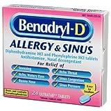 Benadryl-D Allergy & Sinus, 24-Count Ultra-Tabs (Pack of 4) ~ Benadryl