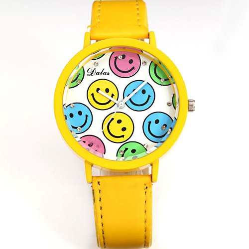 AMPM24 Smiley Face Yellow Round Dial Lady Girl Clear Crystal Analog Wrist Quartz Watch