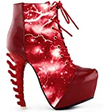 Show Story Thunder Lightning Print Lace-Up High-top Bone Heel Ankle Boot,LF80621