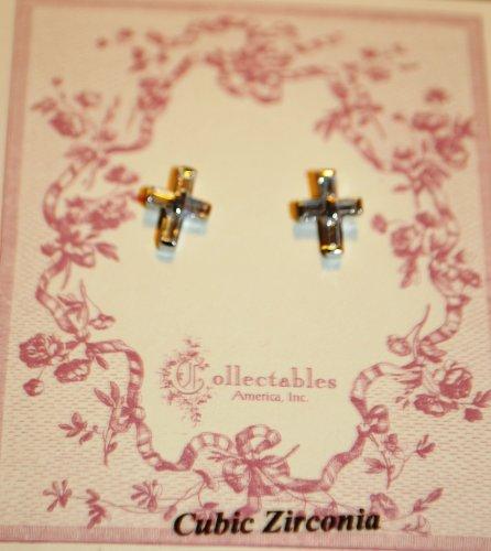 Girls Cubic Zirconia Cross Earrings