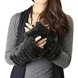 ラビット ファー 手袋(b-1102) (グレー)