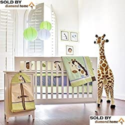 10 Piece Safari Zoo Jungle Baby Bedding Crib Sets Neutral Unisex, Animals Giraffe Monkey Elephant Bear Multicolor Zoo-themed Bedding Set, Nursery Bedding Safari, Green, Tan, Ivory, Blues Brown