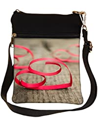Snoogg Red Ribbon Hearts Cross Body Tote Bag / Shoulder Sling Carry Bag