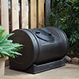 Good Ideas 52 Gallon Compost Wizard Jr. Recycled Plastic Compost Tumbler - Black