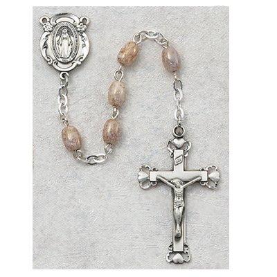 Oval Pink Glass Rosary Christian Catholic Prayer Bead Necklace