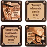 Vandor 15085 John Wayne 4 pc Wood Coaster Set, Brown