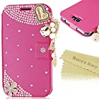 Note 2 Case, Samsung 7100 Case - Mavis's Diary 3D Handmade Bling Crystal LOVE Heart Pendant Sparkle Glitter Rhinestone Diamond Flowers PU Leather Wallet Type with Magnetic Clasp Credit Card Holder Design Folio Case Cover for Samsung Galaxy Note II 2 N7100 I605 L900 I317 T889 T-Mobile Version with Soft Clean Cloth (Hot Pink)