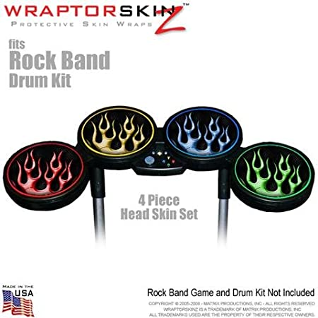 Metal Flames Colors Skin by WraptorSkinz fits Rock Band Drum Set for Nintendo Wii, XBOX 360, PS2 & PS3 (DRUMS NOT INCLUDED)