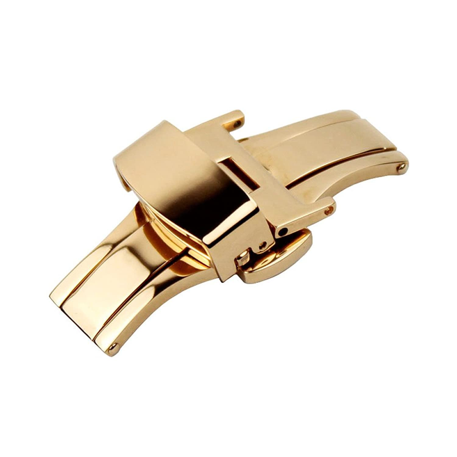Ritche 16mm Stainless Steel Push Button Butterfly Deployment Clasp For Leather Watch band Strap Gold stainless steel watch band for zenith paul picot moser 21mm push button hidden clasp metal strap belt wrist loop bracelet pin