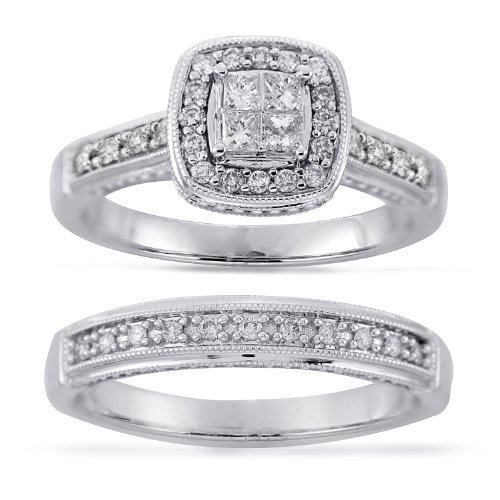 14k White Gold Princess-Cut Quad Center Diamond Bridal Ring Set (1/2 Cttw H-I Color, I1-I2 Clarity), Size 6