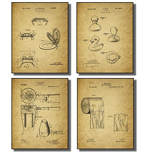 Bathroom Patent Wall Art Prints