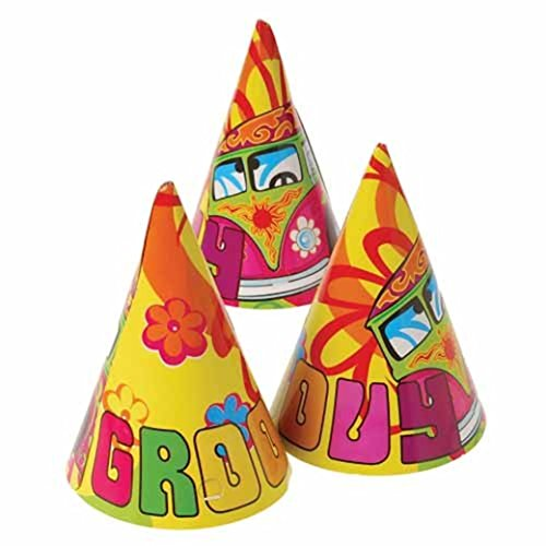 Dozen Hippie Retro Theme Paper Birthday Party Hats With Chin Straps