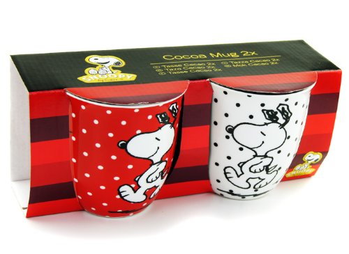 SNOOPY The Peanuts Comic Tasse Rot Weiß mit Punkte CACAO MUG 2er SET
