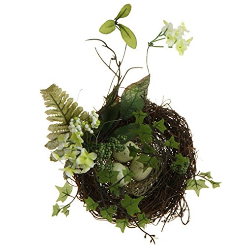 Vine, Twigs & Leaves Song Bird Nest with 3 Eggs Decorative