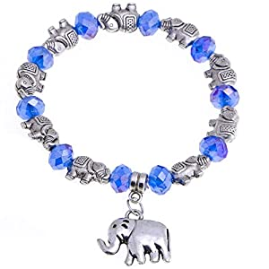 Elephant Charmed and Crystal Beaded Women Fashion Stretch Bracelet (Blue)