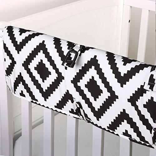 Black-Diamond-Tile-Print-100-Cotton-Padded-Crib-Rail-Guard-by-The-Peanut-Shell