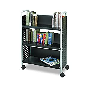 Safco Products 5336BL Scoot Single-Sided Book Cart, 3 Shelf, Black