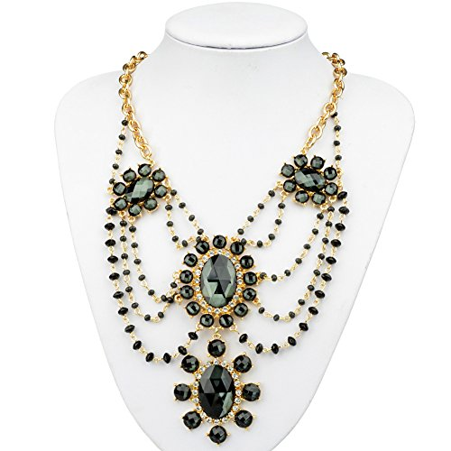 Btime Women Unparalleled Black Four Sun-like Conjoint Earrings & Necklace
