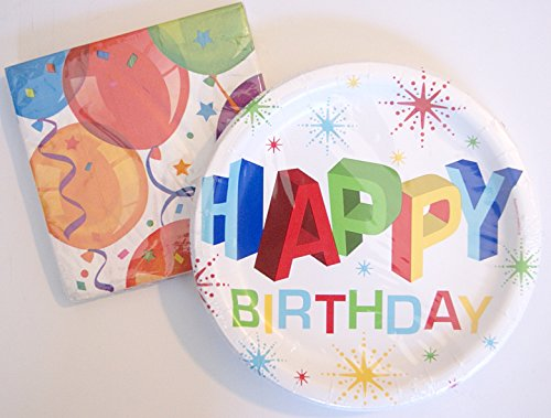 Birthday Party Supply Kit Colorful Balloon Theme - Napkins & Plates