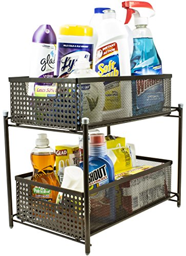Sorbus 2 Tier Organizer Baskets with Mesh Sliding Drawers -Ideal Cabinet, Countertop, Pantry, Under the Sink, and Desktop Organizer for Bathroom, Kitchen, Office, etc.-Made of Steel (Bronze) (Desktop Storage Cabinet compare prices)