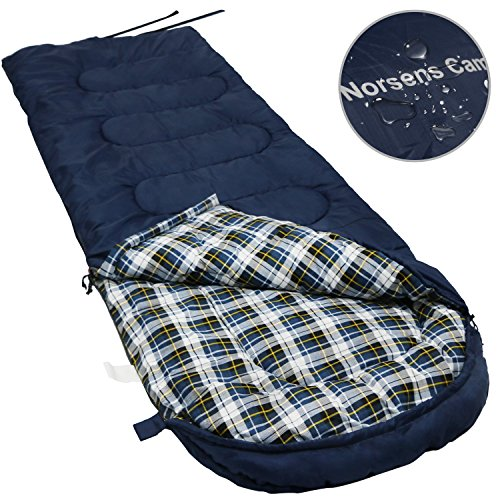 Norsens Flannel Lightweight Camping Backpacking Sleeping Bag Fits up to 6'5