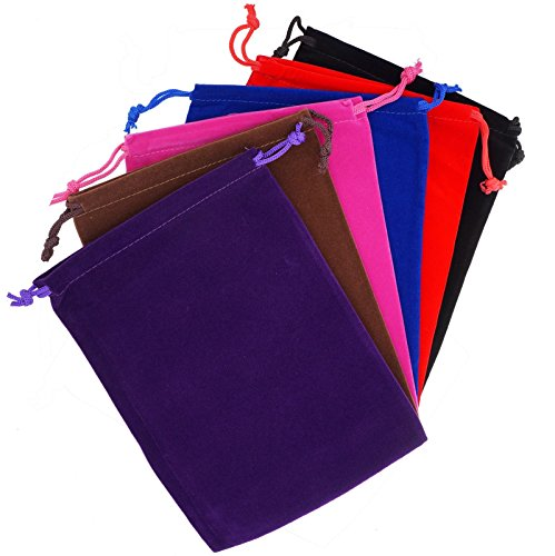 Pack of 6 Mix Color Soft Velvet Pouches w Drawstrings for Jewelry Gift Packaging, 15x20cm (Cloth Pouch compare prices)