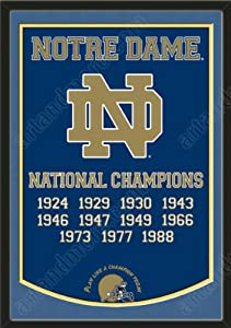 Dynasty Banner Of Notre Dame Fighting Irish With Team Color Double Matting-Framed... by Art and More, Davenport, IA