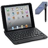 FlyStone Clamshell Laptop Style Bluetooth Keyboard Case for Apple iPad mini / iPad 7.9 inch. Turn Your Tablet Into a 7 Laptop Style. (iPad mini Black)
