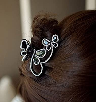 Skyvan Women Elegant Butterfly Flying Rhinestone Crystal Hair Claws Rhinestone Hair Accessories Side-knotted Clip