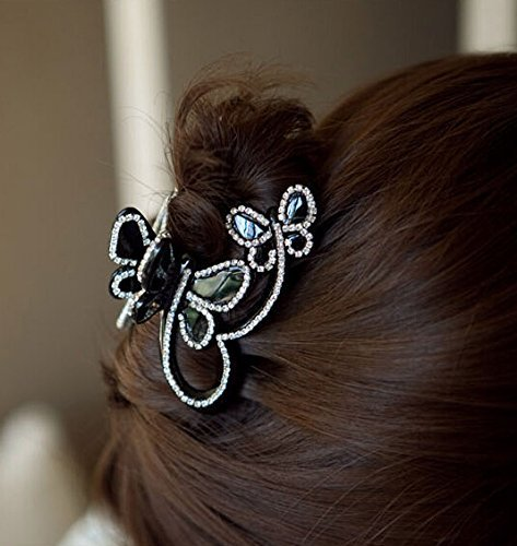 Skyvan Women Elegant Butterfly Flying Rhinestone Crystal Hair Claws Rhinestone Hair Accessories Side-knotted Clip (Jaw Clips For Women compare prices)