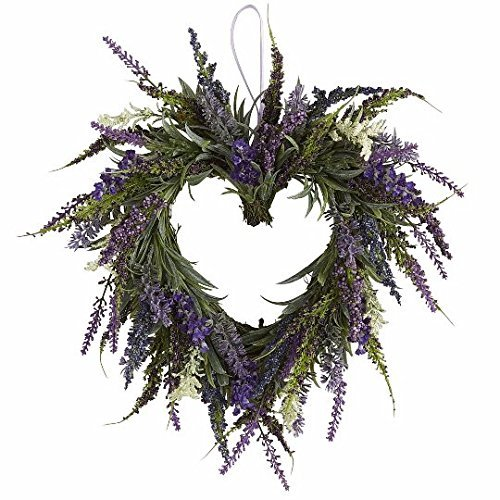 PND's Handcrafted Faux Silk Wreaths: Silk Lavender Heart Wreath (Silk Elements Mixed Silk compare prices)