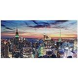 LED-Bild mit Beleuchtung, Leinwandbild Leuchtbild Wandbild, Timer ~ 100x50cm New York, flackernd