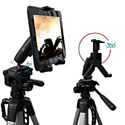 ChargerCity® HDX-2 Tablet Selfie Video Camera Recording Photo Booth Tripod Adapter Mount w/Dual 360° Swivel Adjustment Joint & Universal Tablet holder for 7 8 10 12 screen tablets for Apple iPad Air Mini 2 3 4 Plus (Retina) Samsung Galaxy Tab 3 4 Note Pro Google Nexus LG G Pad Asus Vivo Memo Tab Lanovo ideaPad Yoga Toshiba Excite Microsoft Surface Slate. *TRIPOD IS NOT INCLUDED*