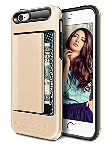 iPhone 5S Case, Vofolen® Easy-Clip Card Holder Slot iPhone 5S Wallet Case Slim Fit Hybrid Armor Scratch Resistant Protective Shell Thin Cover Skin Carrying Case for Apple iPhone 5 5S (Gold)